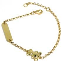 Bracelet or Jaune 18k 750, Fille, Plaque, Ourson, Ours, Longueur 16.5 Cm image 1
