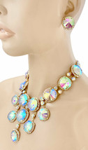 Statement Evening Necklace Earrings Jewelry Set Aurora Borealis Crystals... - $37.95