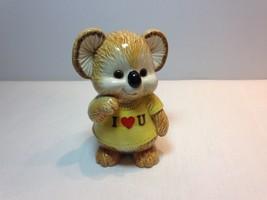 "Vintage Hand Painted 5"" High OMC Japan Brown Koala Bear I Love U Coin Bank - $10.00"