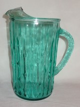 Vintage Blue Glass Picture Water Lemonade Bambo... - $32.89