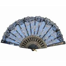 "Creative Simple Dancing Fans Folding Elegant Folding Summer Fan 9"" BLUE"