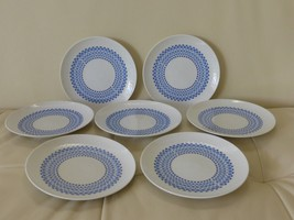 ROSENTHAL ROMANZE SECUNDA BLUE BREAD AND BUTTER PLATES, GERMANY SET OF 7 - $65.00