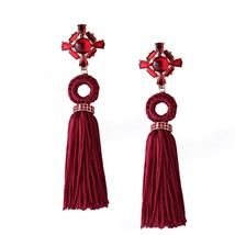 Refined Crystal Long Retro Tassel Earrings Fashion Women Statement Dangl... - $35.99