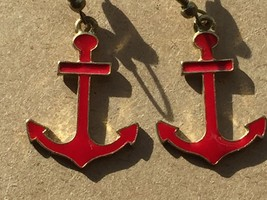 Vintage Red Enamel Anchor Earrings Drop Dangle Pierced 25932 - $17.81
