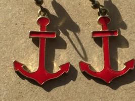 Vintage Red Enamel Anchor Earrings Drop Dangle Pierced 25932 - $17.81