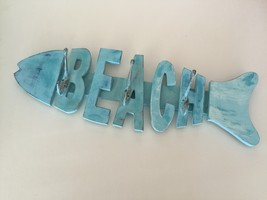 2 turquoise colored beach decor wall racks 3 hook fish motif for clothing, keys  - $72.99