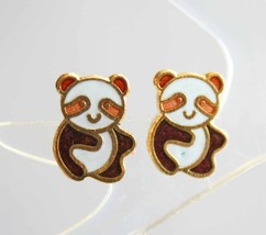 Cute Genuine Cloisonne Enamel Petite Panda Pierced Earrings 1970s vintag... - $9.95