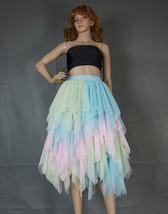 Women's Sweet High Waist Hi-lo Tiered Tulle Layered Ruffle Mesh Long Tier Skirt image 4