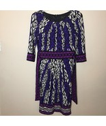 Max And Cleo Black Purple Pink Print Dress Tie Back 3/4 Sleeve Size 4 - $37.11