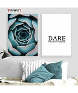 Blue Flower Bud Abstract Wall Art Inspiring Quote Canvas Prints Nordic - $6.95+