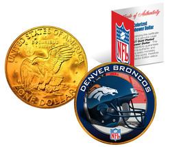 DENVER BRONCOS NFL 24K Gold Plated IKE Dollar US Coin *OFFICIALLY LICENSED* - $9.85