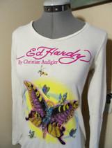 ED HARDY Audiger T-shirt Top XS Ivory Butterfly mask Rhinestones & graph... - $17.81