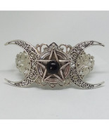 Triple Moon Goddess Pentacle Black Onyx Bracelet - $30.00