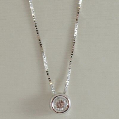 18K WHITE GOLD NECKLACE WITH DIAMOND 0.08 CARATS, VENETIAN CHAIN MADE IN ITALY
