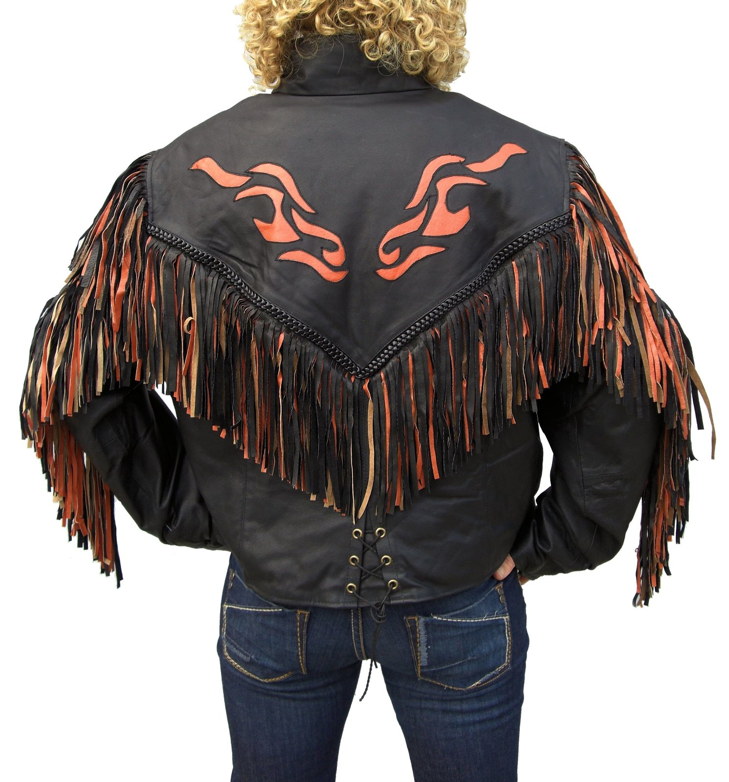QASTAN Women's Western Black Orange Flame Fringe Leather Jacket WWJ01