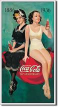Coca-Cola Retro Bathers 50th Anniversary Coke Vintage Soda Pop Metal Sign - $20.95