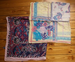 Ginnie Johansen Lot of 2 Cotton Scarf Floral Paisley - $22.80