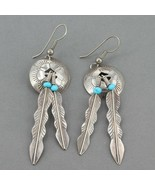 Unsigned Native American Sterling Turquoise Beads Double Feather Dangle ... - $21.99