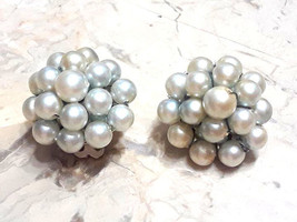 Vintage Signed Japan Cluster of Faux Pearl Clip Earrings - $4.00