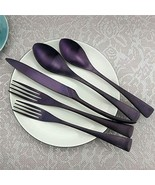 PUZHLER Stainless Steel Flatware Set, 20 Piece Purple Plated Stainless S... - $64.87