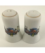 Mississippi Ceramic Salt And Pepper Shaker Set Jenkins White Magnolia St... - $4.99