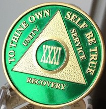 31 Year AA Medallion Green Gold Plated Alcoholics Anonymous Sobriety Chi... - $20.39