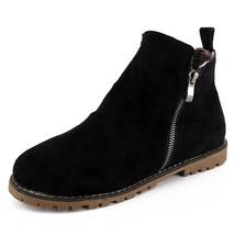 Women's Faux Suede Side Zipper Chunky Low Heel Ankle Bootie Shoes - $69.95