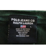 Womens Vneck Pullover Shirt by polo jeans co color hunter green size L T... - $12.94