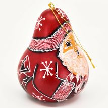 Handcrafted Carved Gourd Art Red Santa Claus Christmas Ornament Made in Peru image 4
