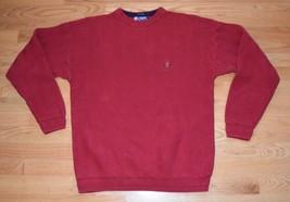 Chaps Ralph Lauren Mens Red Cotton Crew Neck Sweater Crest Herringbone Hip Hop M - $20.00