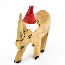 Hand Carved & Painted Jacaranda Wood Santa Hat Rhino Safari Christmas Figure image 2