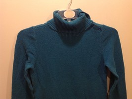 St John's Bay Sea-Toned Teal Turtleneck Sweater w Neck Buttons Sz Medium image 2