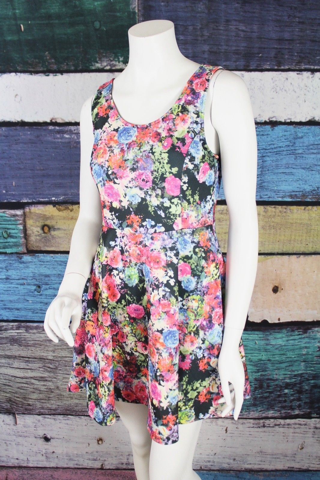 Lush Medium M Black Pink Floral Stretch Scuba Fit & Flare Skater Dress Nordstrom