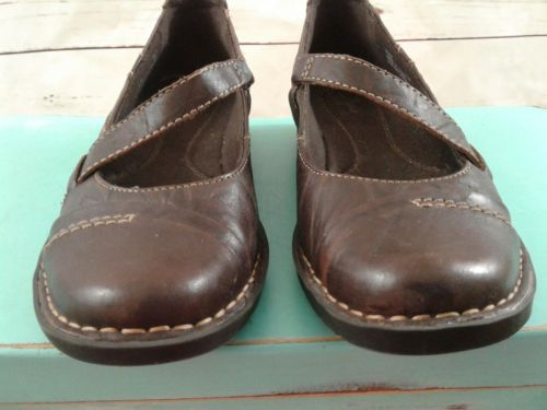 CLARKS BENDABLES WOMENS BROWN LEATHER MARY JANE LOW WEDGE CASUAL SHOES 5.5