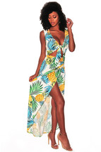 Pineapple Palm Print Tie Front High Split Maxi Dress - $15.00
