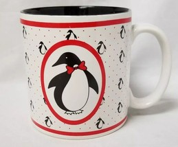 Penguin Coffee Mug: White Cup w Black Inside, Penguins, Red Bow, Russ Co. - $21.28