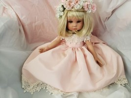 Pretty Flower Girl With Blonde Hair Flowers Head Dress About 18 Inch - $57.42