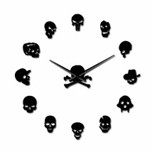Big Cool Skull Zombie Heads DIY 3D Acrylic Wall Clock Frameless Decor Fu... - $36.39+