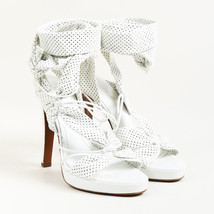Givenchy White Leather Perforated Ankle Wrap Platform Sandals SZ 38.5 - $220.00