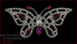 Eisenberg Ice Signed Rhinestone Butterfly Pin Pink and Red Rhinestones (... - $115.56 CAD
