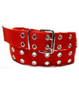 Canvas 2 Hole With Silver Grommet Belt In RED  XS- XL Web Fashion Ladies - $12.99