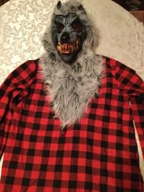 Boys Large 12/14 Amscan Hungry Howler costume top red&black wolf  - $24.99