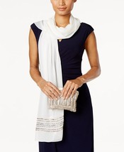 VINCE CAMUTO Evening Wrap Scarf & Clutch Set Ivory Gold Silver $50 - NWT - $13.08 CAD