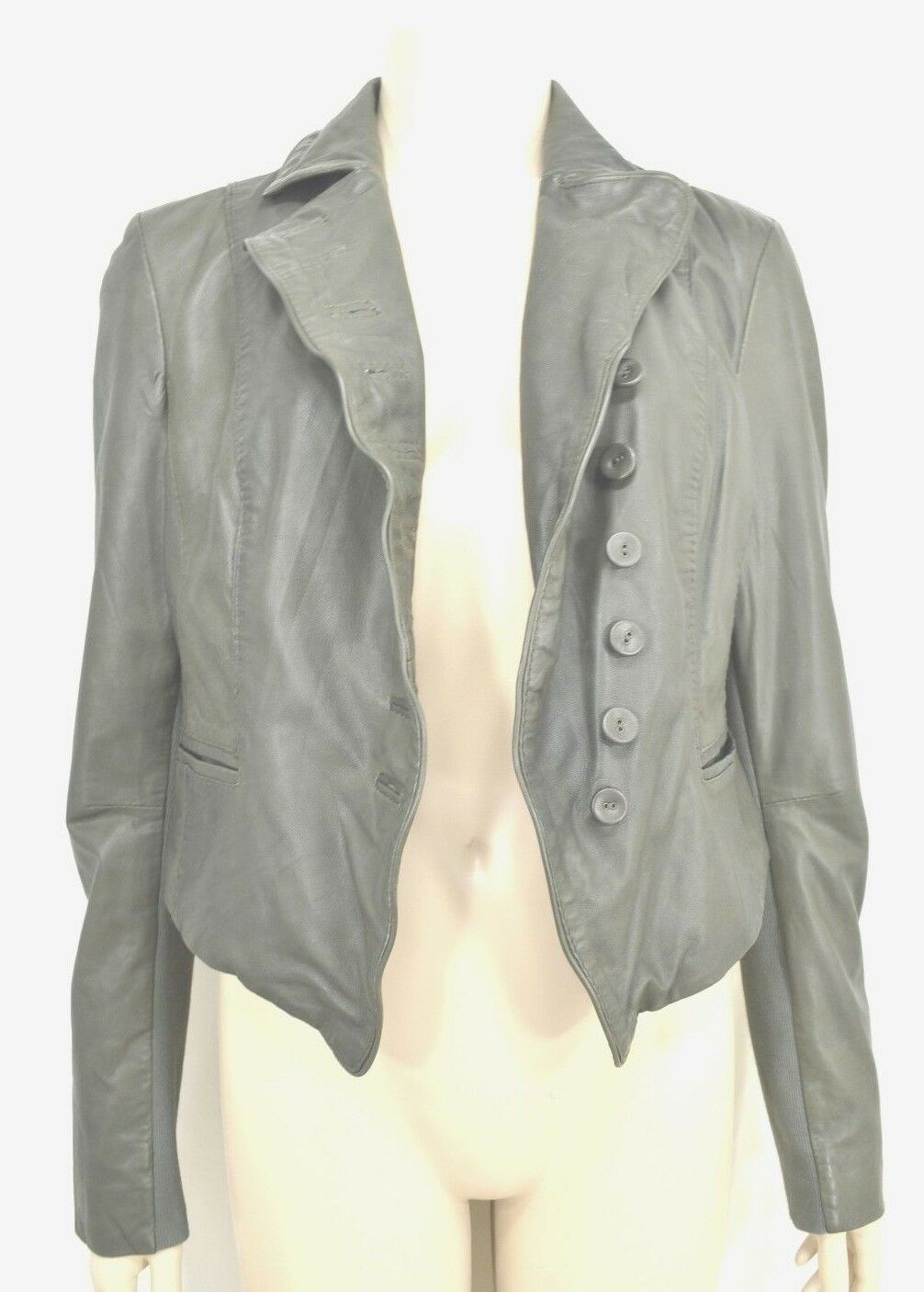 MUUBAA lambskin soft leather jacket SZ 8 Moss Army Gray asymmetric buttoned image 2
