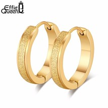 Punk Stainless Steel Hoop Earrings For Women Small Round 19mm Gold-color Earring - $8.93