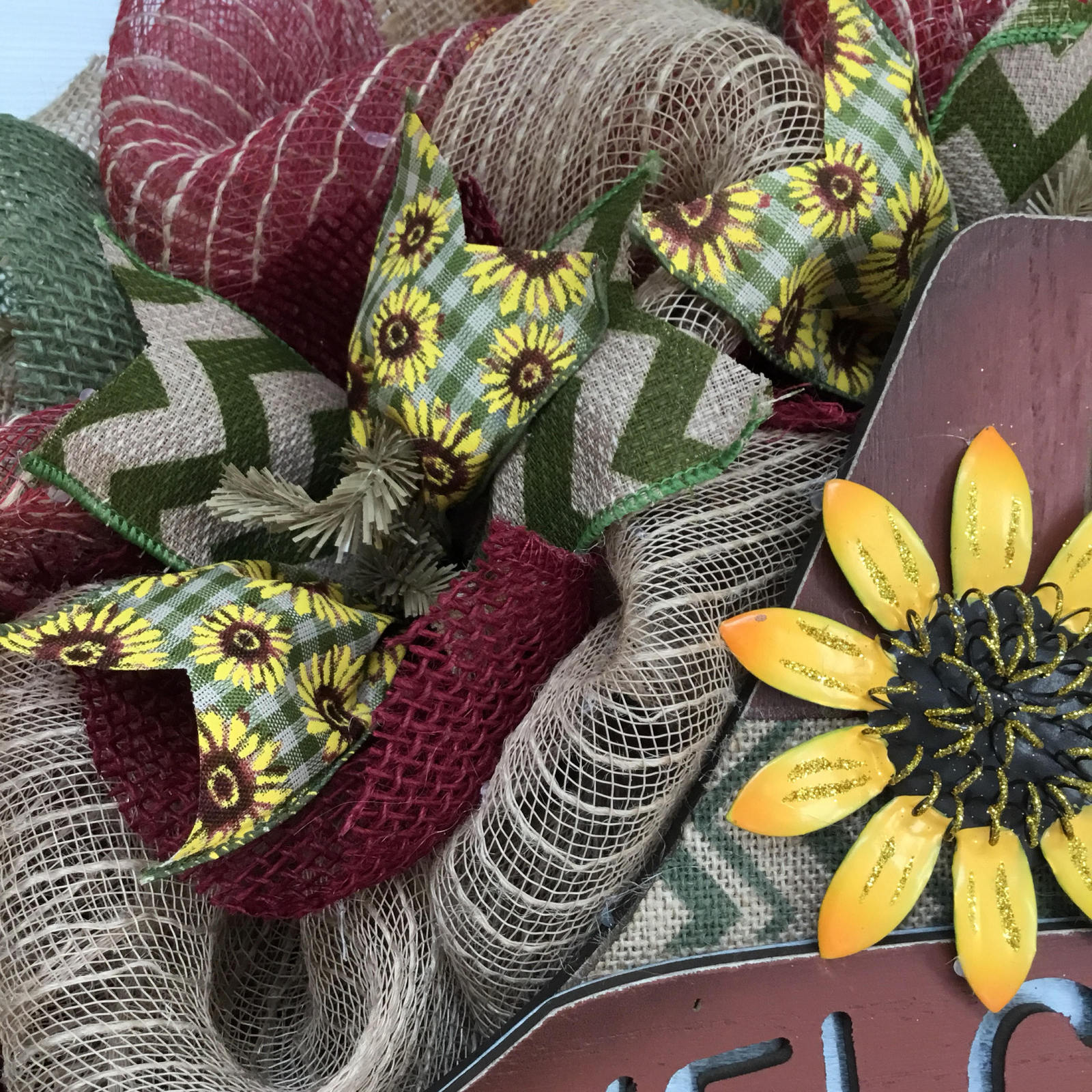 Sunflower Scarecrow Autumn Welcome Wreath Handmade Deco Mesh