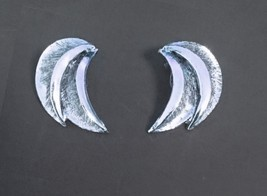 """Vintage Silver Tone Double Crescent Earring Clip On 1.75"""" L - $9.99"""