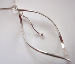 Waved Hoop with Dangle Silver Ball Pendant 925 Sterling Corona Sun Jewelry - $3.95