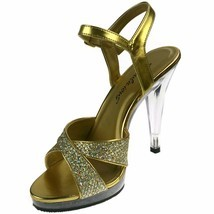 PLEASER Sandals Crisscross Glitter Platform Clear High Heels FLAIR-419G ... - $907,17 MXN