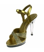 PLEASER Sandals Crisscross Glitter Platform Clear High Heels FLAIR-419G ... - $63.95 CAD